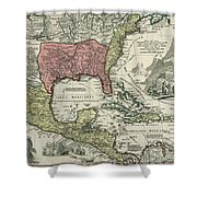 Vintage North America And Caribbean Map - 1720 Shower Curtain
