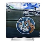 Vintage Nose Art B-25j Mitchell Shower Curtain