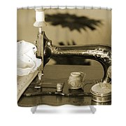 Vintage Notions In Sepia Tones Shower Curtain