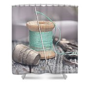 Vintage Notions Over Wood Background Shower Curtain