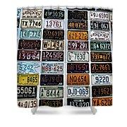 Vintage Number Plates Shower Curtain