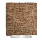 Vintage Old Classified Newspaper Ads Shower Curtain