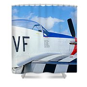 Vintage P51 Fighter Aircraft, Burnet Shower Curtain