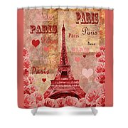 Vintage Paris And Roses Shower Curtain