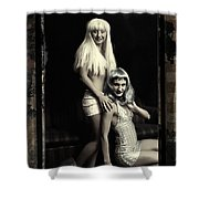 Vintage Party Girls Shower Curtain