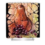 Vintage  Pear And Grapes Fresco   Shower Curtain