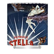 Vintage Petrole Stella Poster Shower Curtain