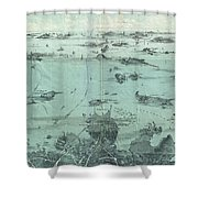 Vintage Pictorial Map Of Boston Harbor  Shower Curtain