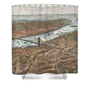 Vintage Pictorial Map Of Brooklyn And Nyc  Shower Curtain