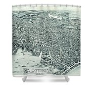 Vintage Pictorial Map Of Lynn Massachusetts - 1916 Shower Curtain