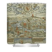 Vintage Pictorial Map Of Lyon France - 1555 Shower Curtain