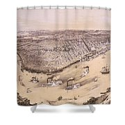 Vintage Pictorial Map Of New Orleans - 1851 Shower Curtain