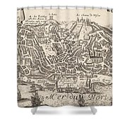 Vintage Pictorial Map Of New York City - 1672 Shower Curtain