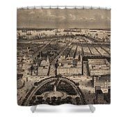 Vintage Pictorial Map Of New York City - 1840 Shower Curtain