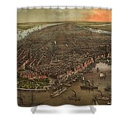 Vintage Pictorial Map Of New York City - 1873 Shower Curtain