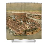 Vintage Pictorial Map Of New York City - 1874 Shower Curtain