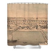 Vintage Pictorial Map Of Newport News Va - 1862 Shower Curtain
