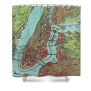 Vintage Pictorial Map Of Of New York City - 1909 Shower Curtain