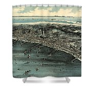 Vintage Pictorial Map Of Provincetown - 1910 Shower Curtain