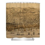 Vintage Pictorial Map Of San Francisco - 1868 Shower Curtain
