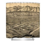 Vintage Pictorial Map Of Santa Barbara Ca - 1877 Shower Curtain