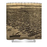 Vintage Pictorial Map Of Seattle - 1884 Shower Curtain