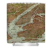 Vintage Pictorial Map Of The Nyc Area - 1912 Shower Curtain