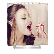 Vintage Pin Up Girl Eating Strawberry Cupcake Shower Curtain