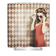 Vintage Pinup Fashion Model In Womens Sunglasses Shower Curtain