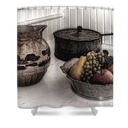 Vintage Pitcher, Pan, And Fruit Bowl Shower Curtain