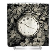 Vintage Pocket Watch Over Flowers Shower Curtain