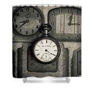 Vintage Pocket Watch Over Old Clocks Shower Curtain