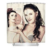 Vintage Pop Art Advert Girl With Breakfast Product Shower Curtain