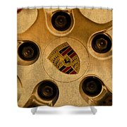 Vintage Porsche Wheel Logo Shower Curtain