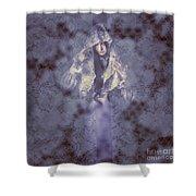 Vintage Portrait. Elegant Girl Wearing Lace Veil Shower Curtain