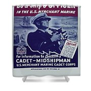 Vintage Poster - Be A Ship's Officer Shower Curtain