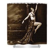 Vintage Poster Posing Dancer In Costume Shower Curtain