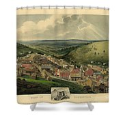 Vintage Pottsville Pennsylvania Etching With Remarque Shower Curtain