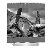 Vintage Prop - Black And White Shower Curtain