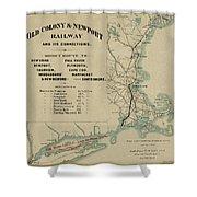 Vintage Railway Map 1865 Shower Curtain