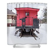Vintage Red Caboose In The Snow Shower Curtain