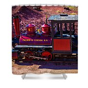 Vintage Red Calico Train Shower Curtain