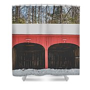 Vintage Red Carriage Barn Lyme Shower Curtain