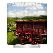 Vintage Red Wagon Shower Curtain