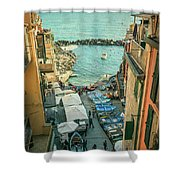 Vintage Riomaggiore Cinque Terre Italy Shower Curtain