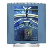 Collectible Logo And Emblem On A Vintage Rolls Royce Shower Curtain