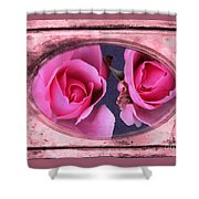 Vintage Rose Bud Plate Frame Painting Shower Curtain