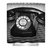 Vintage Rotary Phone Black And White Shower Curtain