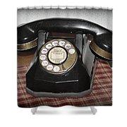 Vintage Rotary Phone Shower Curtain
