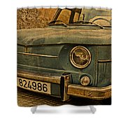 Vintage Rusty Renault Truck Shower Curtain